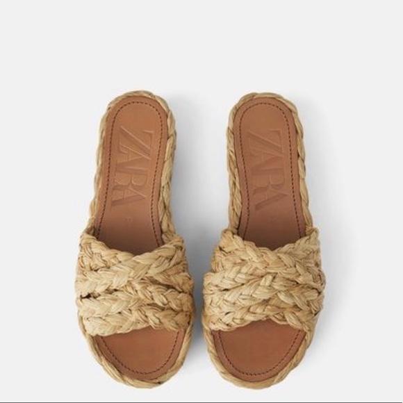 Zara Natural Raffia Platform Sandal